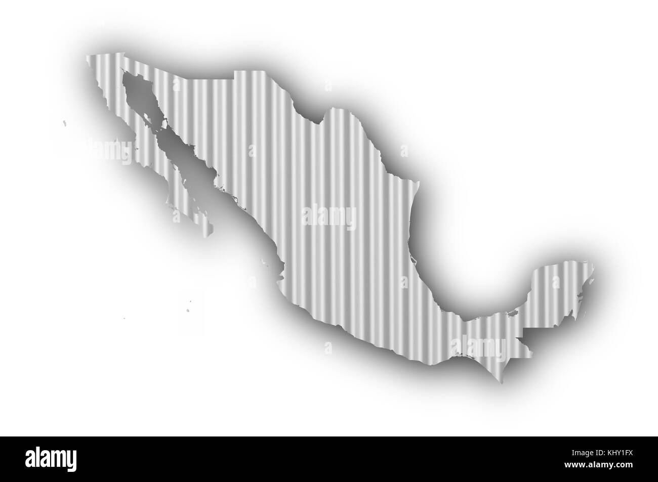 Map of Mexico on corrugated iron - Stock Image