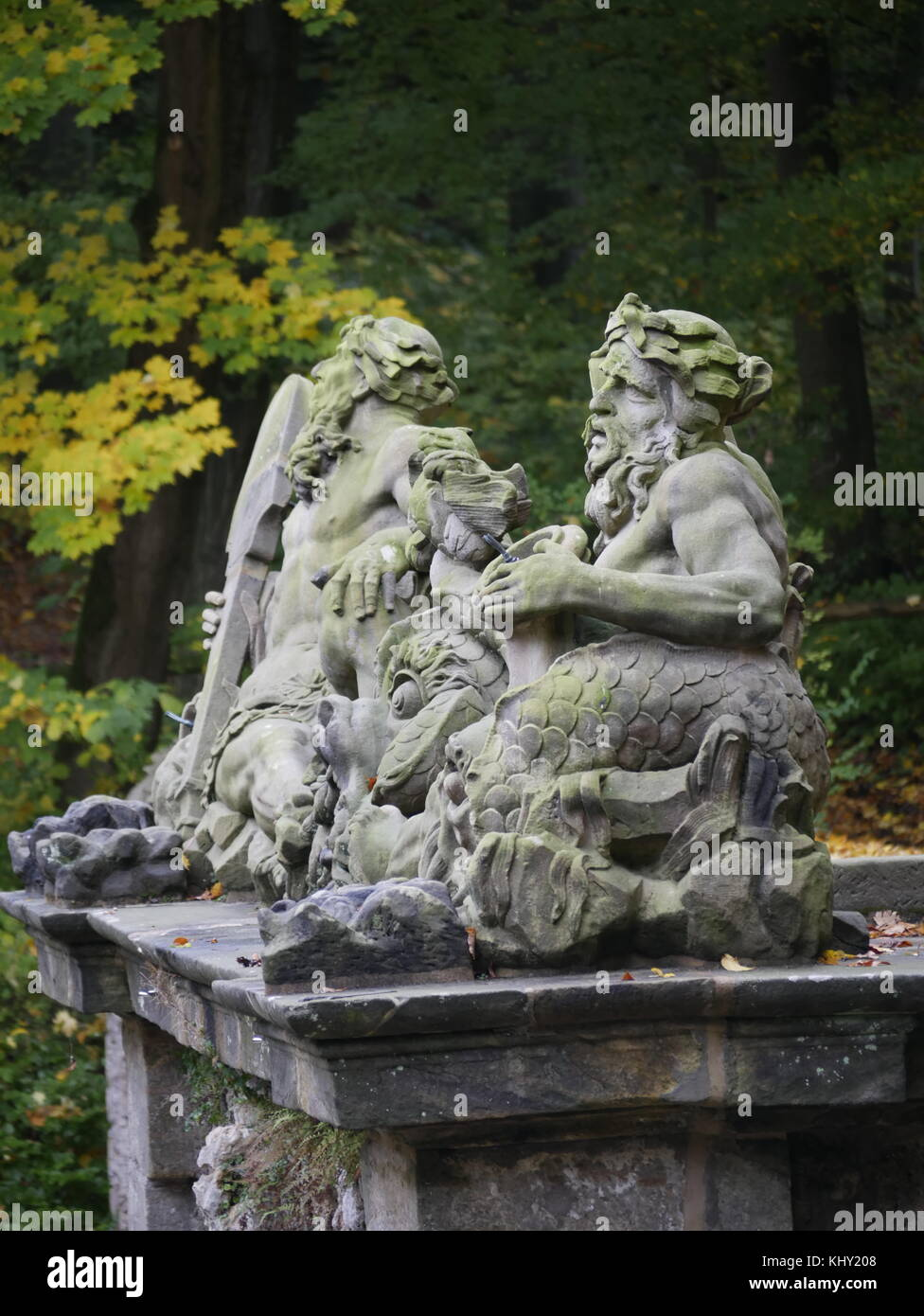 Sculpture work in the Bayreuth Hermitage (Eremitage Bayreuth, Untere Grotte) - Stock Image