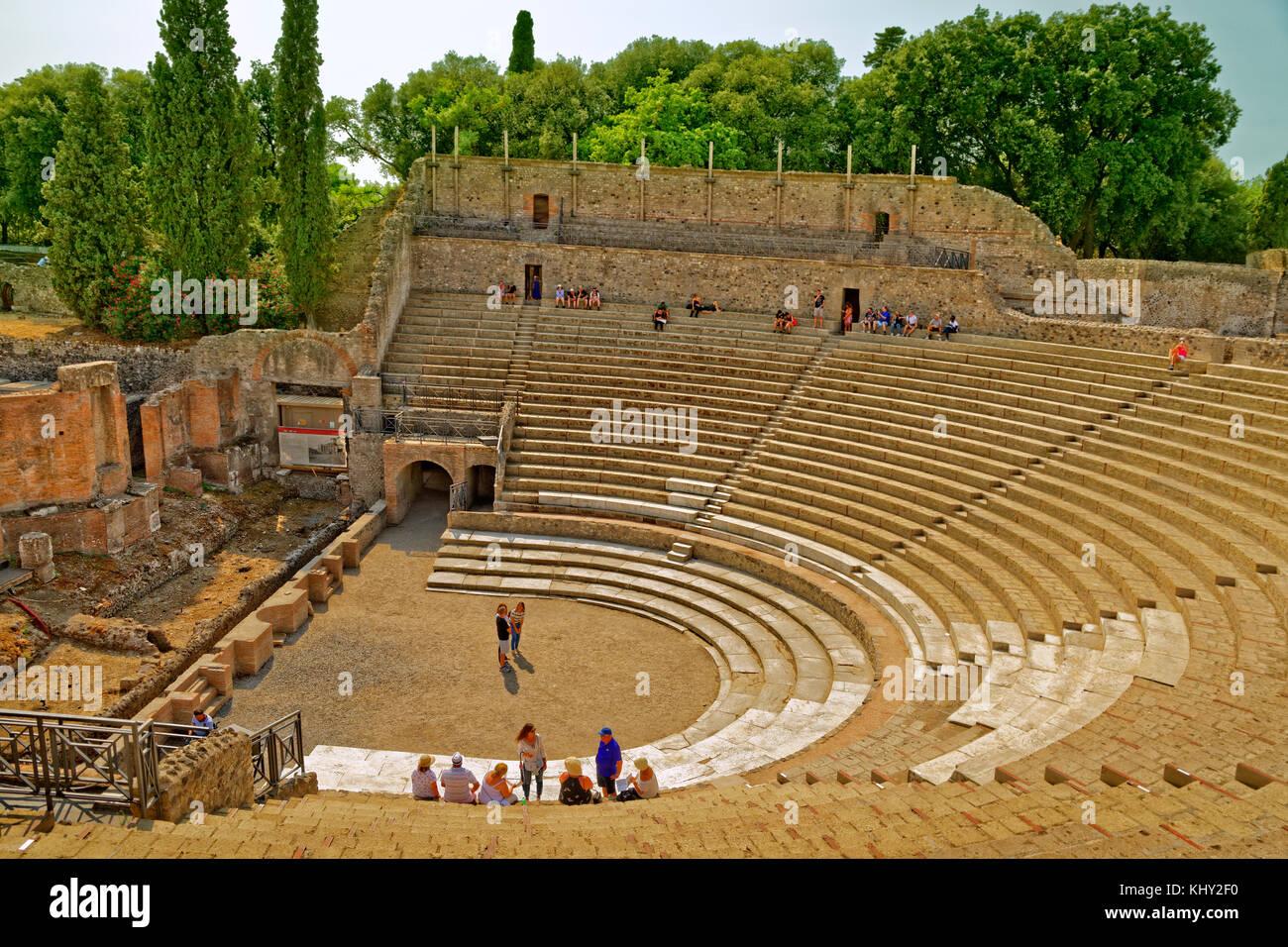 Grand theatre at the ruined Roman city of Pompeii at Pompei Scavi, near Naples, Italy. - Stock Image