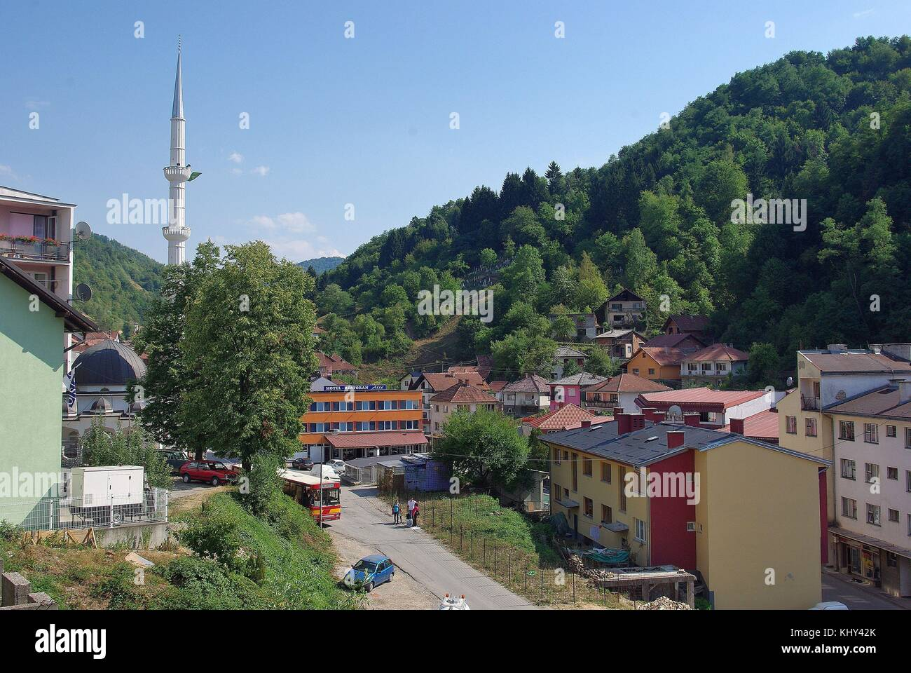 Srebrenica in Eastern Bosnia: view to the mosque - Stock Image