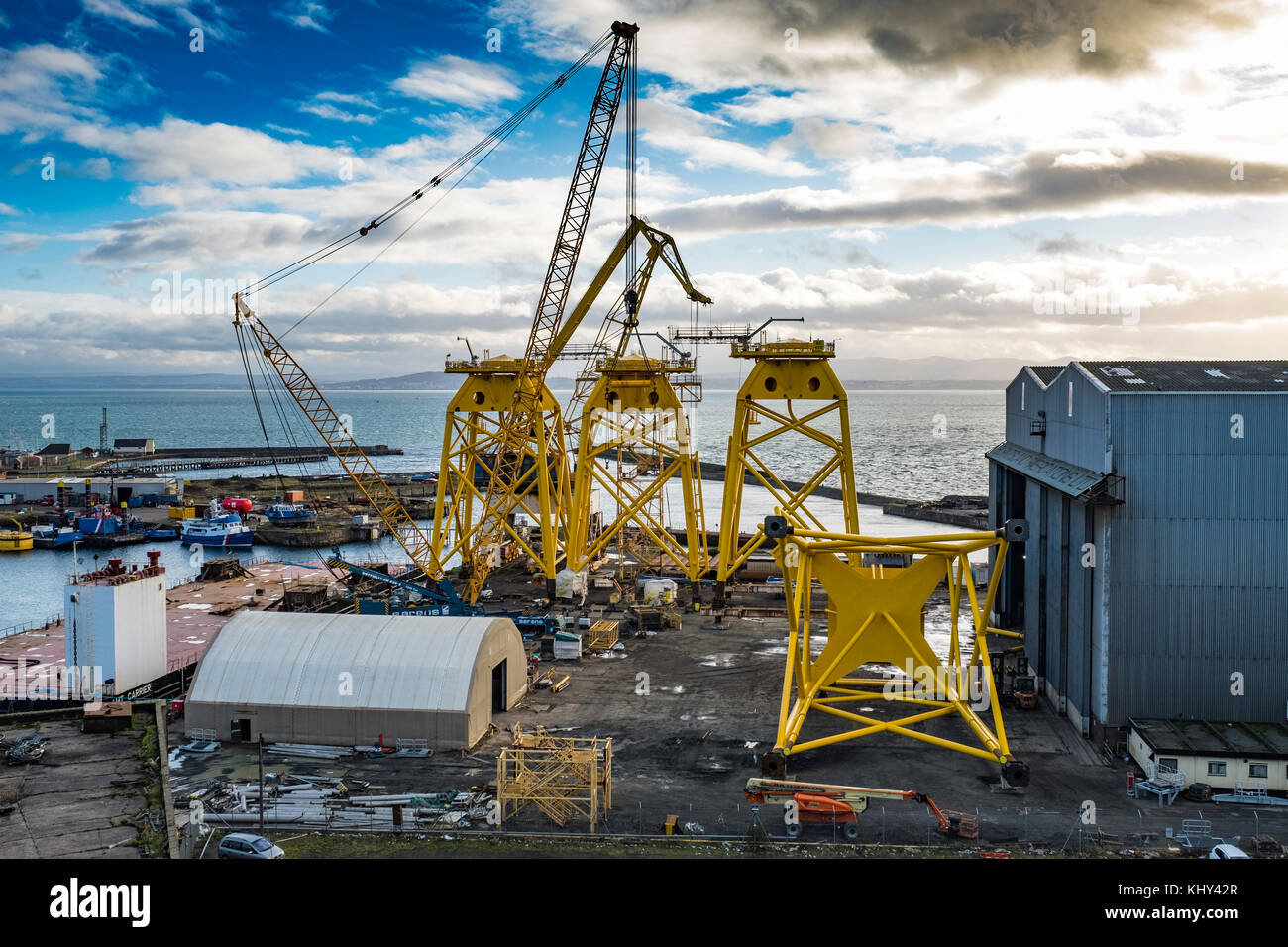 View of Burntisland Fabrications yard at Burntisland in Fife , Scotland, UK. They fabricate platforms and modules - Stock Image