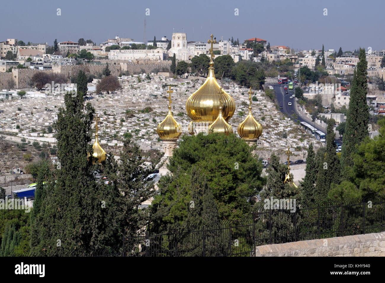 Jerusalem Maria Magdalena Kirche BW 1 - Stock Image
