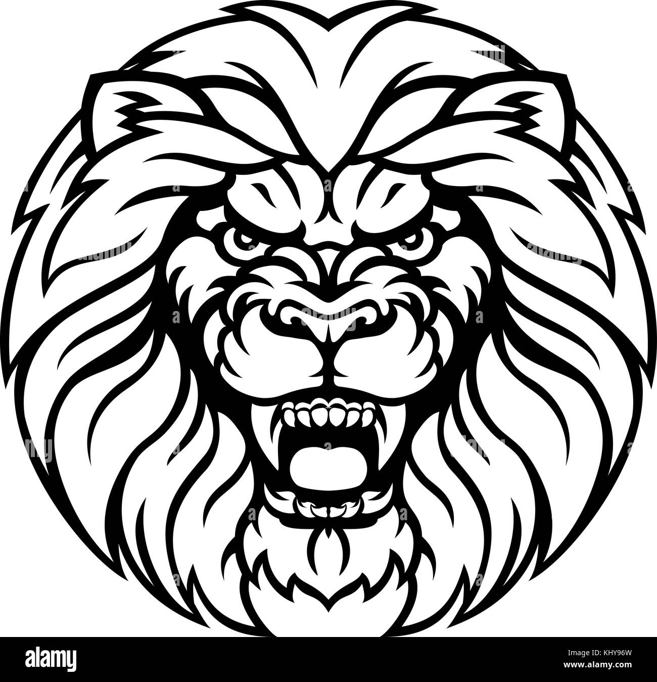 Lion Sports Mascot Angry Face - Stock Vector