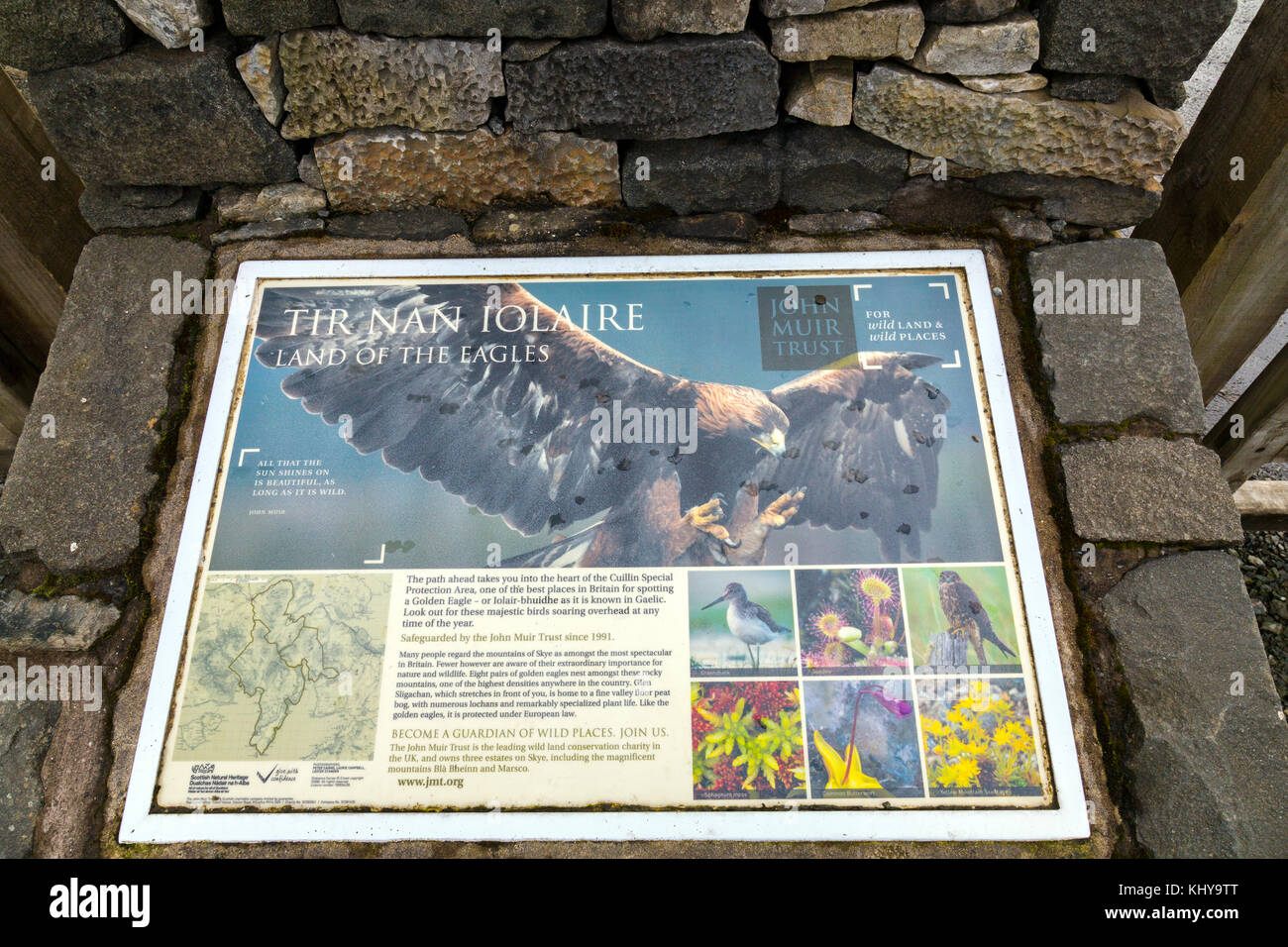 An information board about Golden Eagles at Sligachan on the Isle of ...