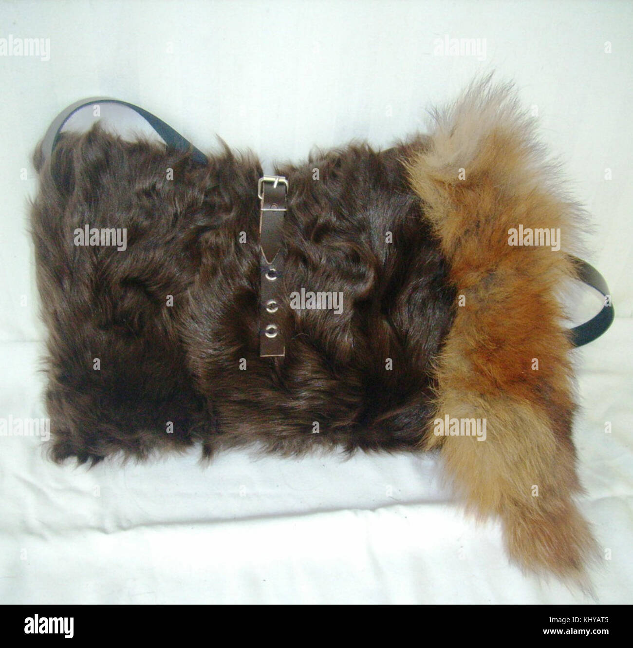 5717c220dd Chekiang lamb fur bag with red fox tail - Stock Image