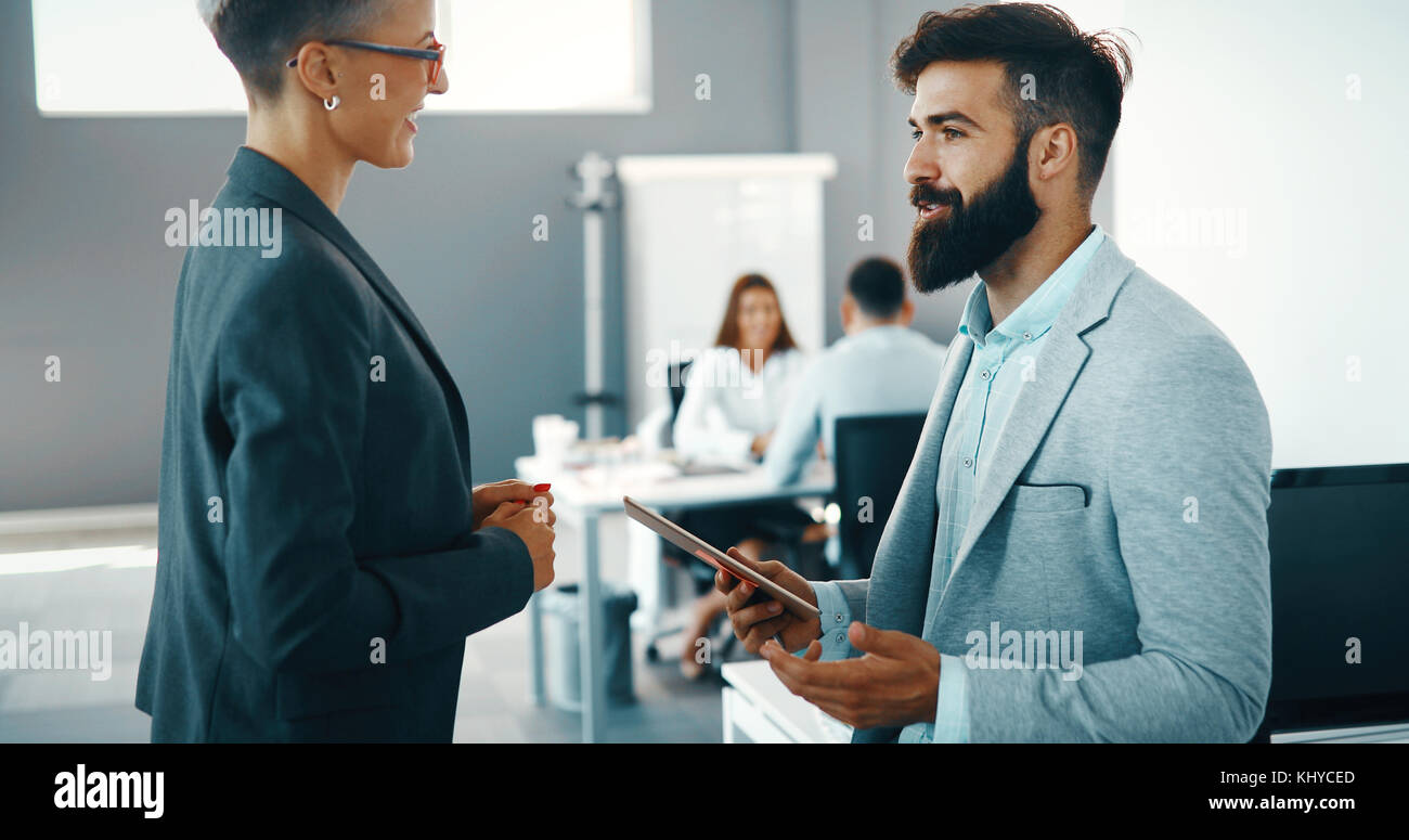 Business people day at modern business office - Stock Image