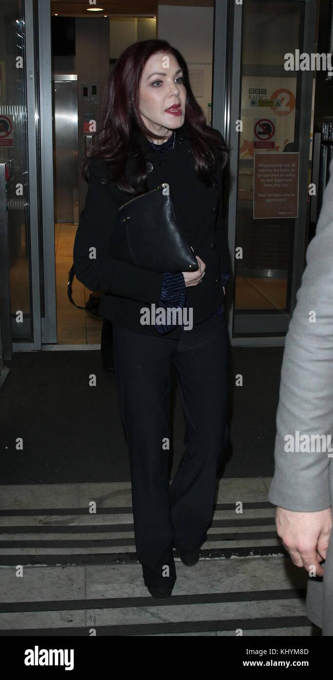 London, UK. 20th November, 2017. Priscilla Presley American actress seen at the BBC Studios in London Credit: RM - Stock Image