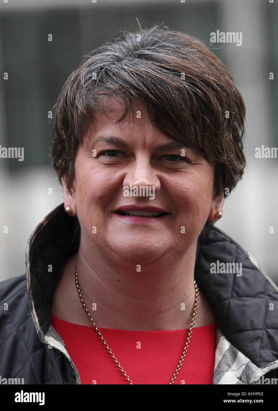 London, UK. 21st November, 2017. DUP Leader Arlene Foster seen leaving 10 Downing Street in London Credit: RM Press/Alamy - Stock Image