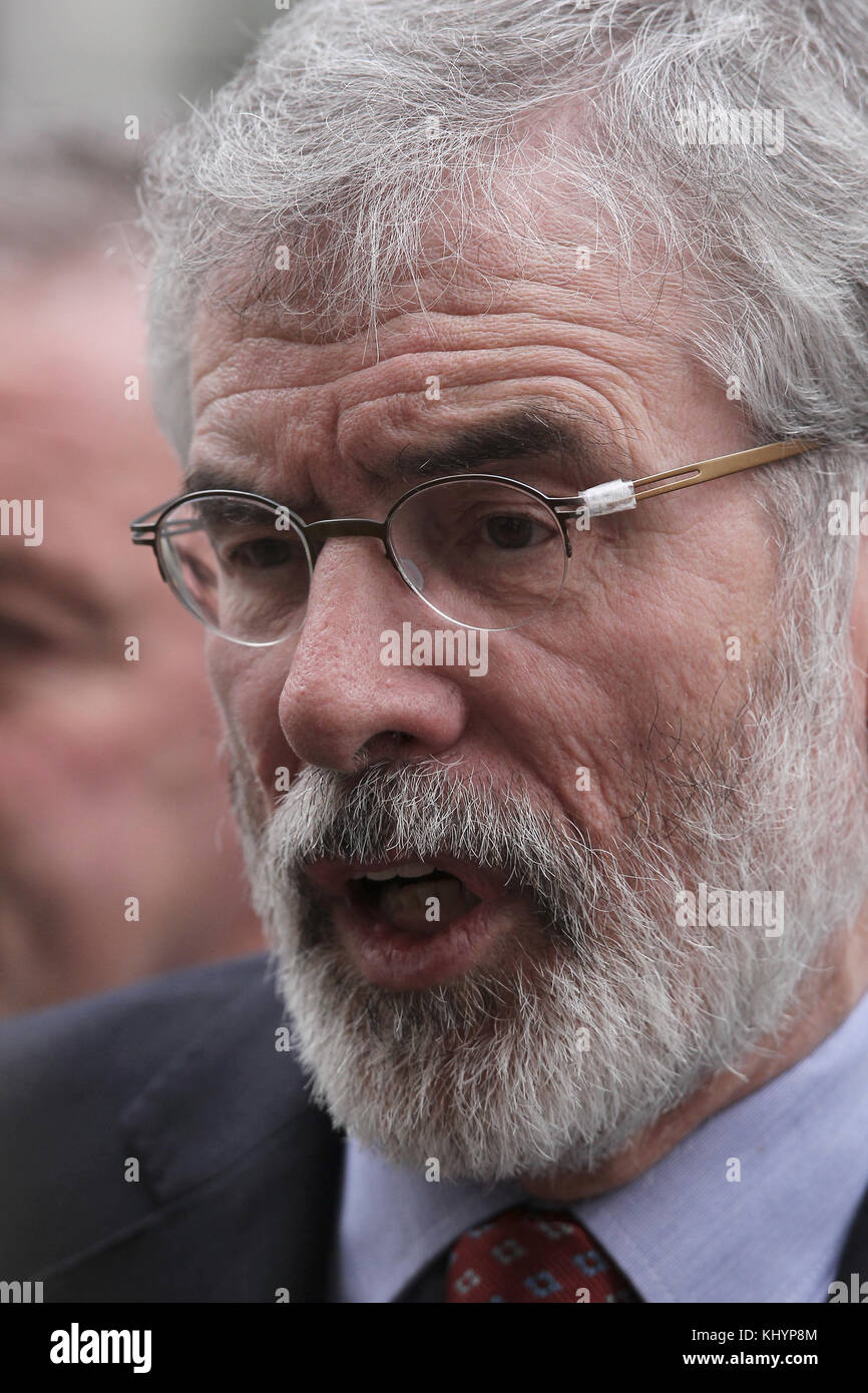 London, UK. 21st November, 2017. Gerry Adams President of Sinn Fein seen leaving 10 Downing Street in London Credit: - Stock Image