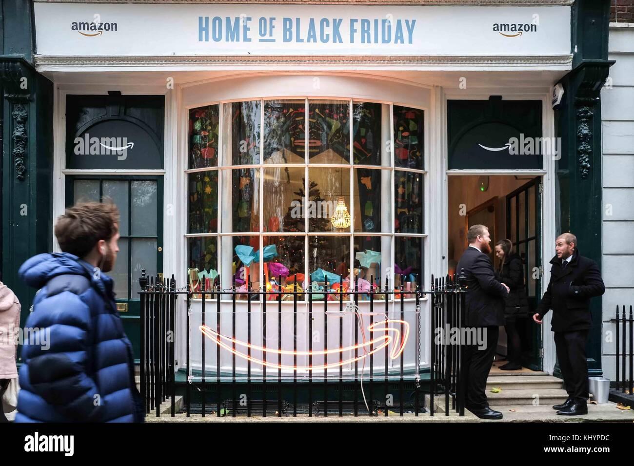 London, UK. 21st Nov, 2017. London 21st November 2017.Online retailer Amazon opens a pop- up shop in Soho Square, Stock Photo