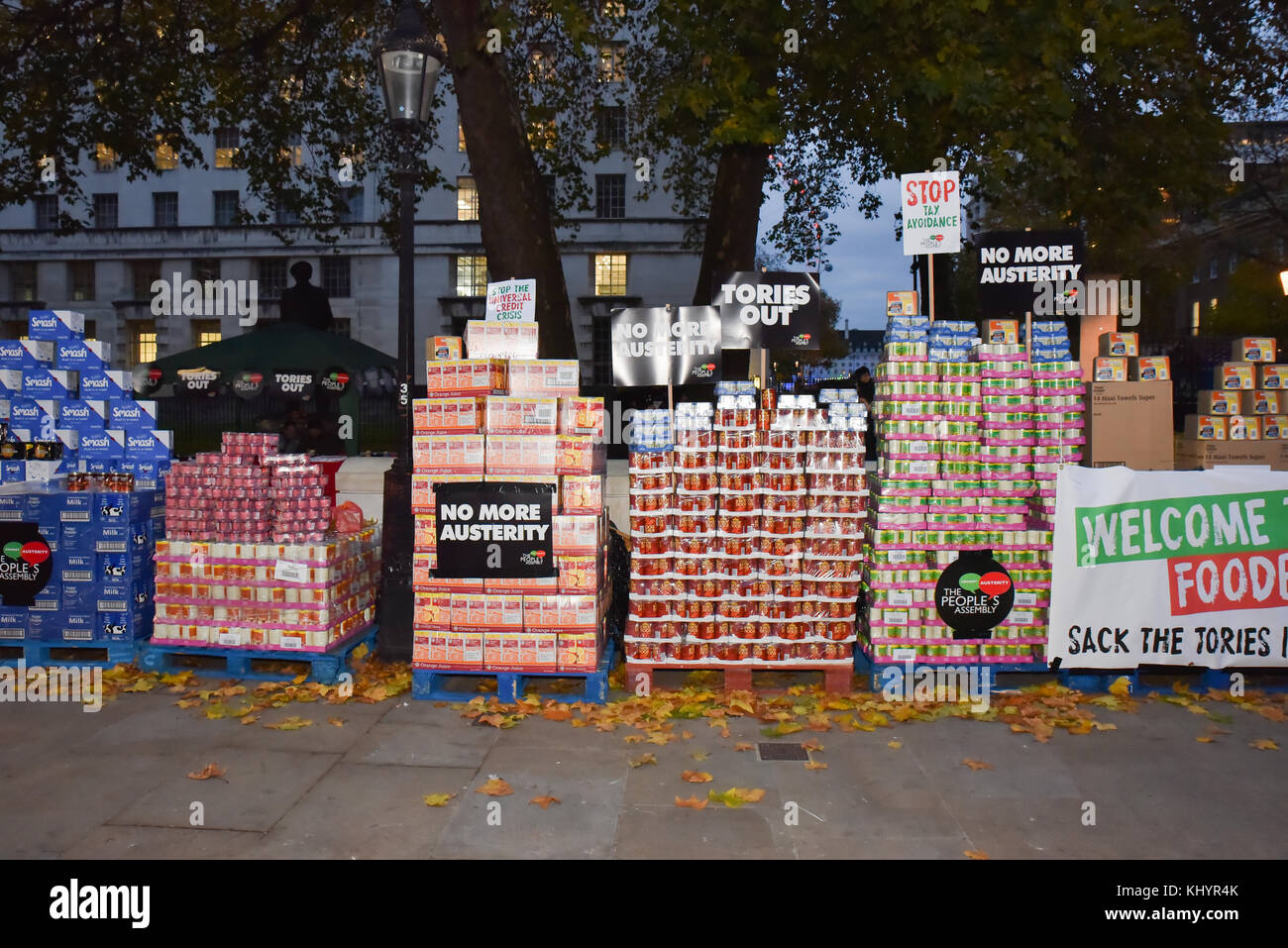 Whitehall, London, UK. 21st Nov, 2017. The People's Assembly anti austerity, budget day protest opposite Downing Stock Photo