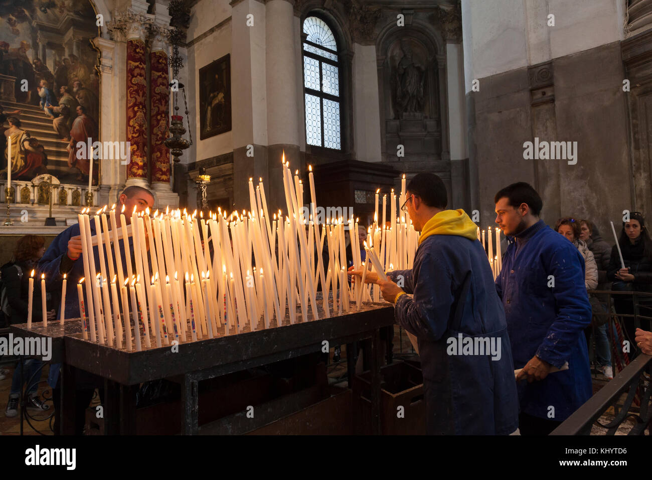 Venice, Italy, 21st November 2017. Festa della Madonna della Salute. The Church of Madonna della Salute was built - Stock Image