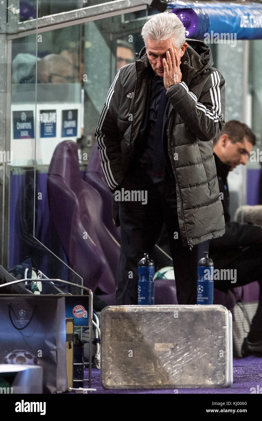 Munich's coach Jupp Heynckes reacts at the sidelines during the Champions League soccer match between RSC Anderlecht - Stock Image