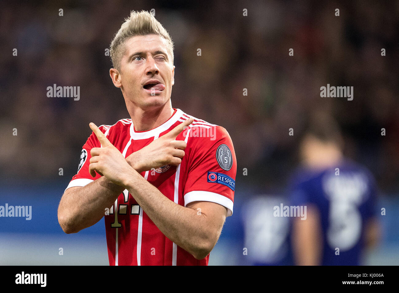 Munich's Robert Lewandowski celebrates after scoring the 1-0 goal during the Champions League soccer match between - Stock Image