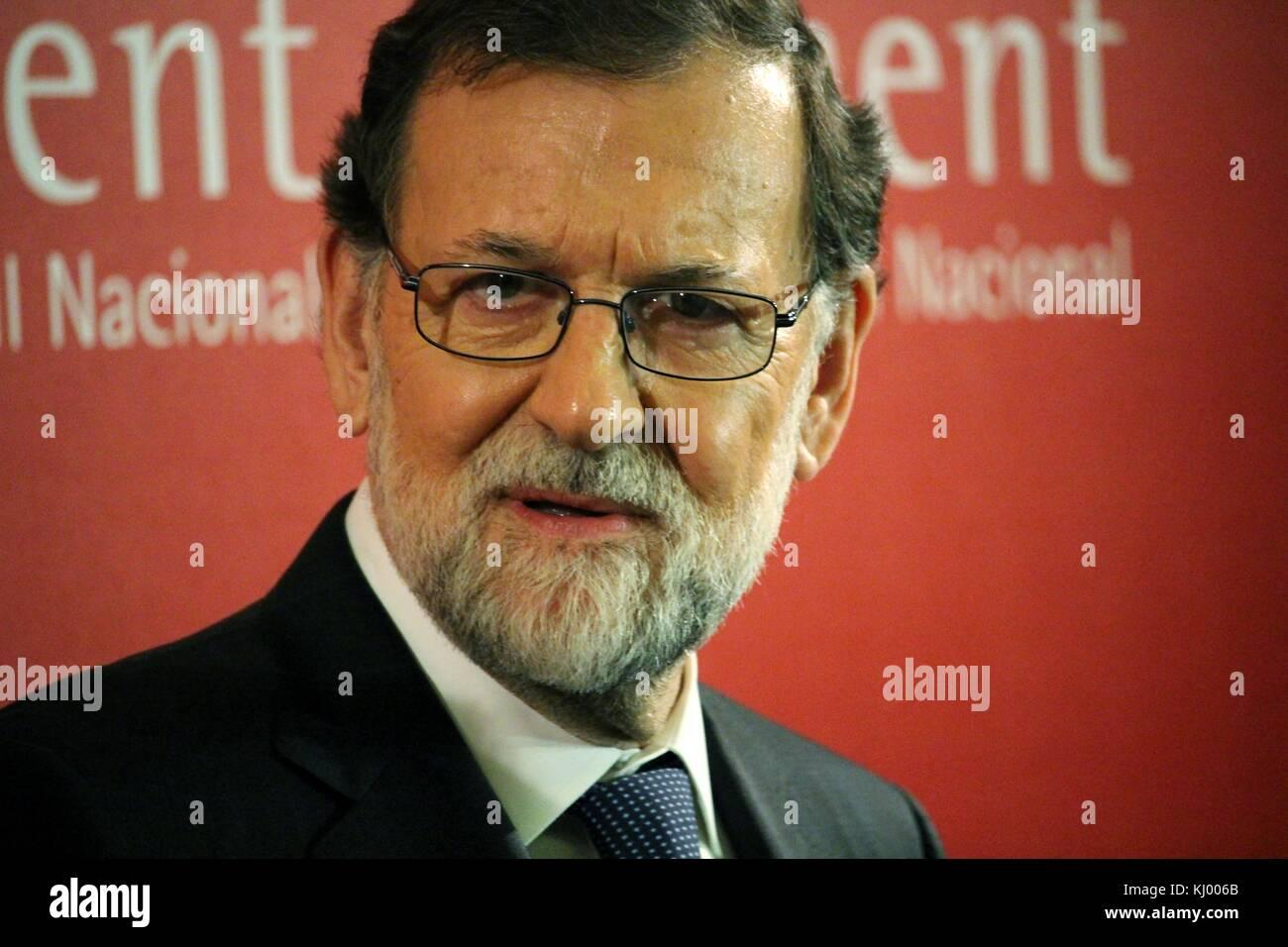Barcelona, Spain - November 22, 2017: Spanish premier Mariano Rajoy attending the Carles Ferrer Salat Prize in Barcelona. Stock Photo