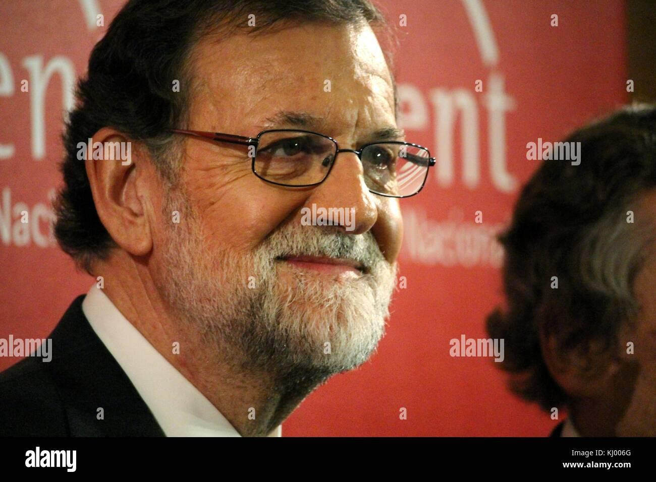 Barcelona, Spain - November 22, 2017: Spanish premier Mariano Rajoy attending the Carles Ferrer Salat Prize in Barcelona. - Stock Image