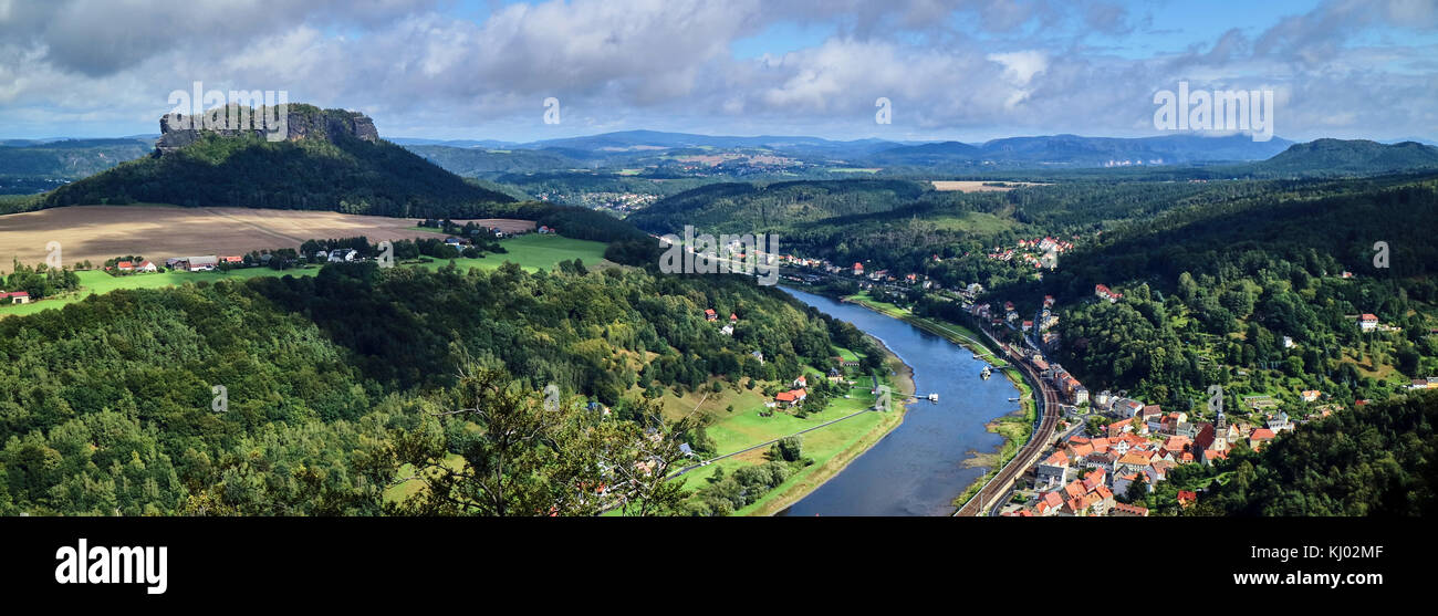 Europe, Germany, Saxony, from the Königstein Fortress, view over the Elbe river - Stock Image