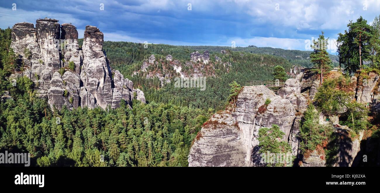 Europe, Germany, Saxony,  National Reserve Saechsische Schweiz, Elbe Sandstone Mountains, the Bastei; Saxon Switzerland Stock Photo