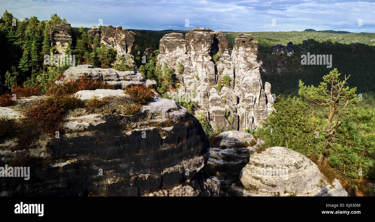 Europe, Germany, Saxony,  National Reserve Saechsische Schweiz, Elbe Sandstone Mountains, the Bastei; Saxon Switzerland - Stock Image