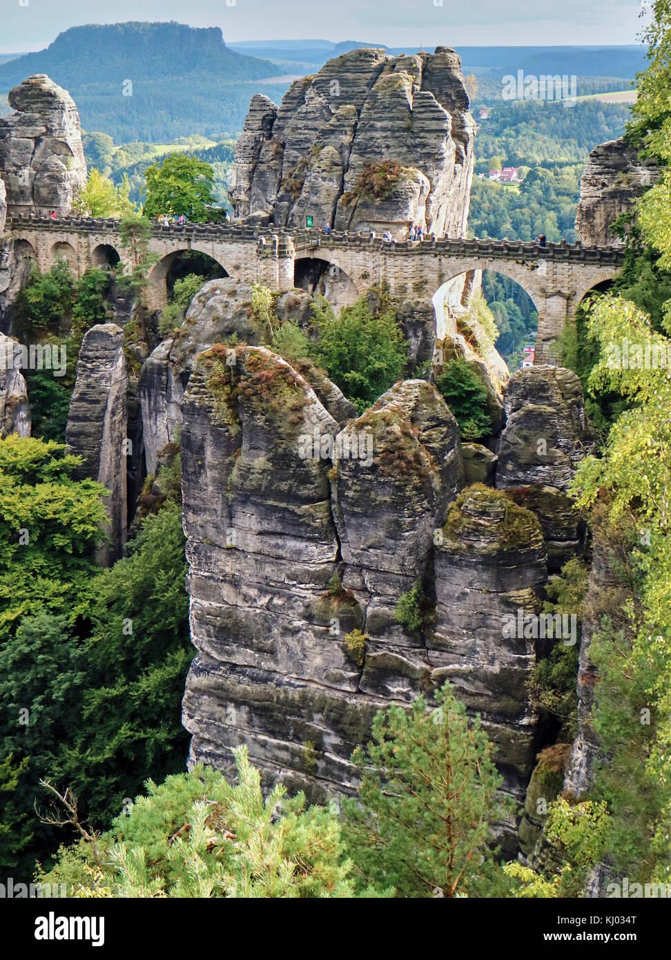 Europe, Germany, Saxony,The Bastei Bridge;  National Reserve Saechsische Schweiz, Elbe Sandstone Mountains, the Stock Photo