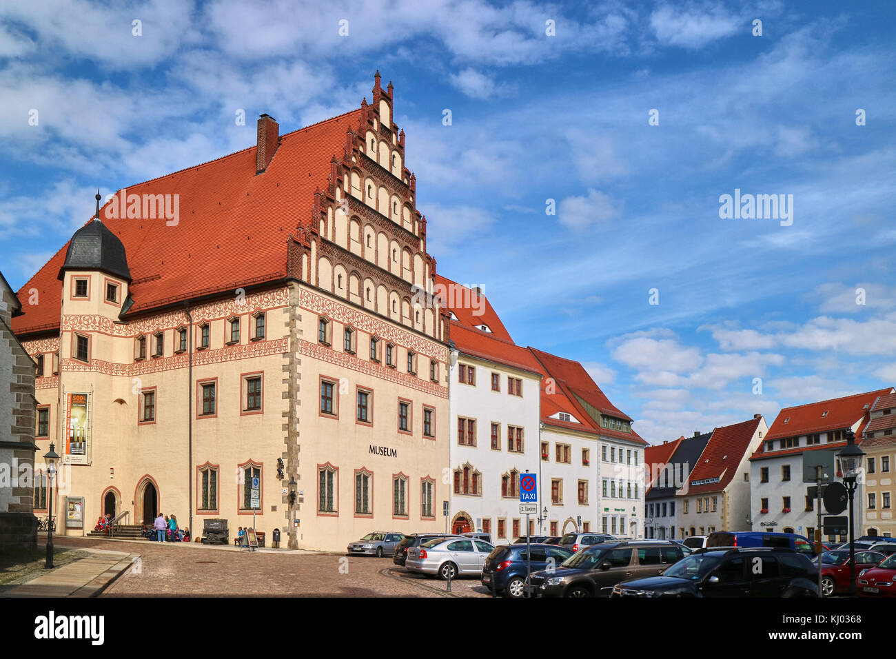 Europe, Germany, Saxony, Freiberg city, Unter Markt square - Stock Image