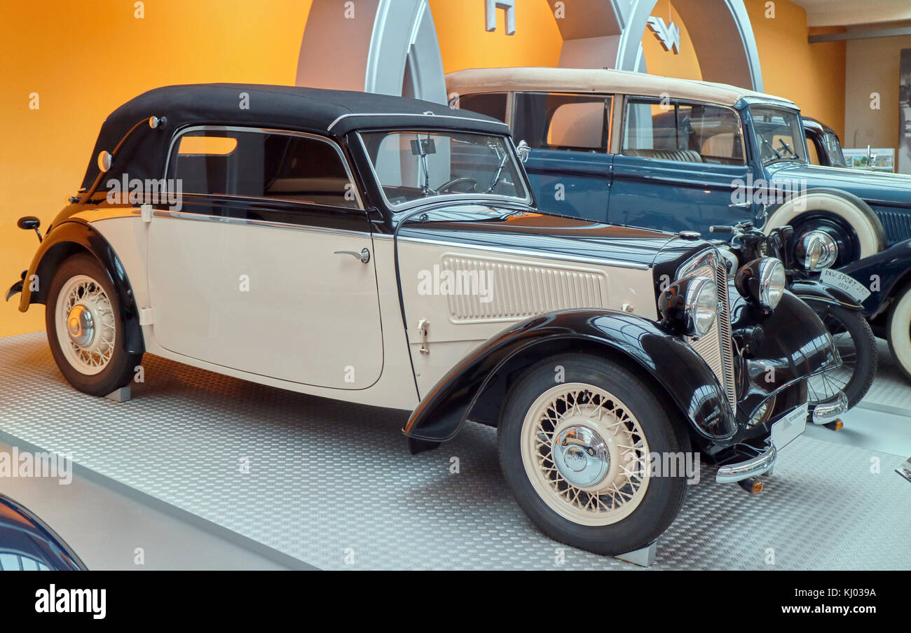 Europe, Germany, Saxony, Zwickau city, The August Horch Museum, old DKW 7 Front-Luxus 1938 - Stock Image