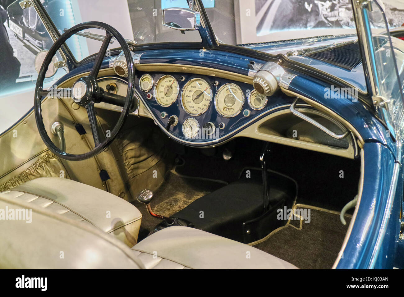 Europe, Germany, Saxony, Zwickau city, The August Horch Museum, Classic antique Wanderer car dashboard with gauges - Stock Image