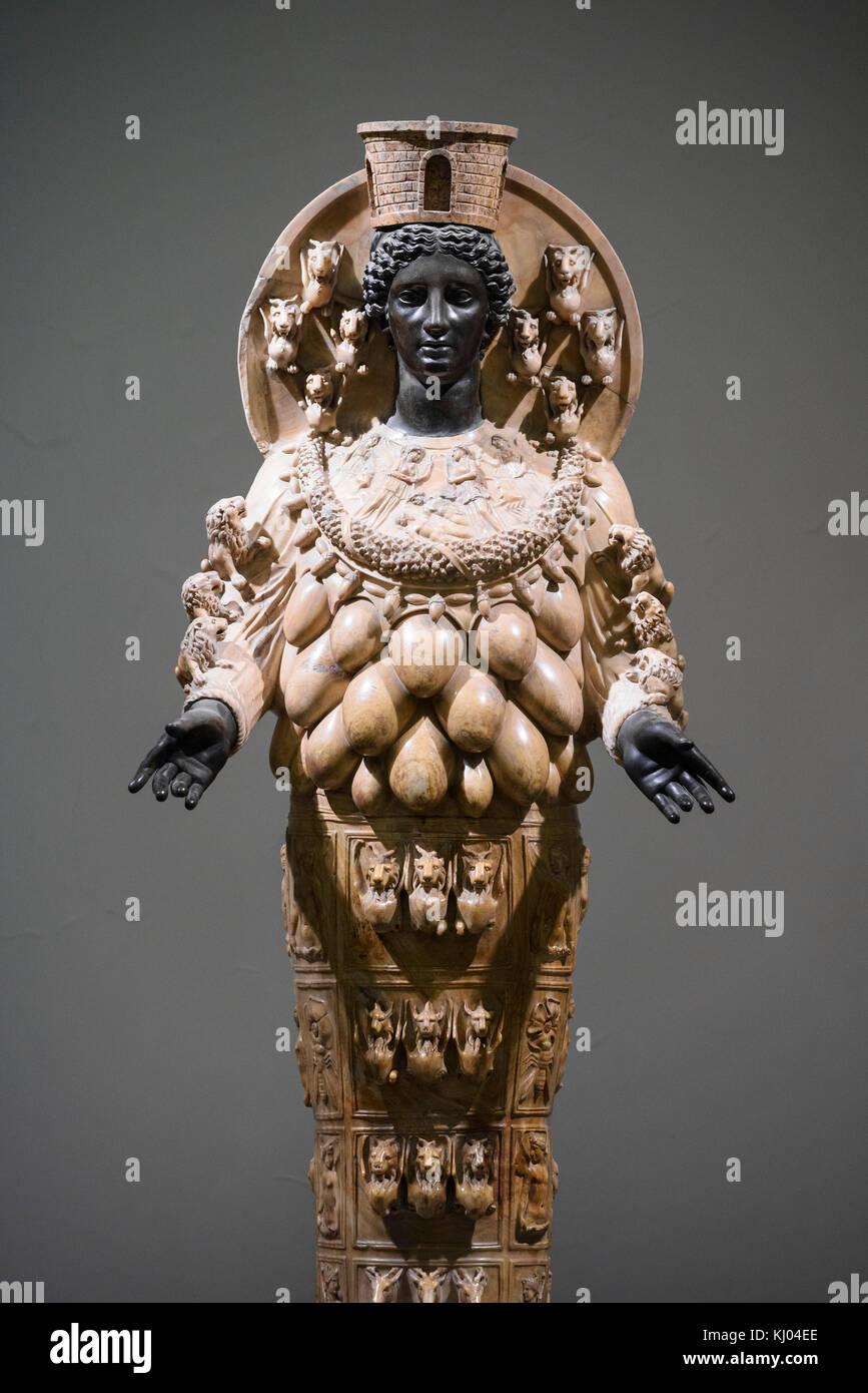 Naples. Italy. Artemis of Ephesus, ancient Roman sculpture, 2nd century A.D. Museo Archeologico Nazionale di Napoli. Stock Photo