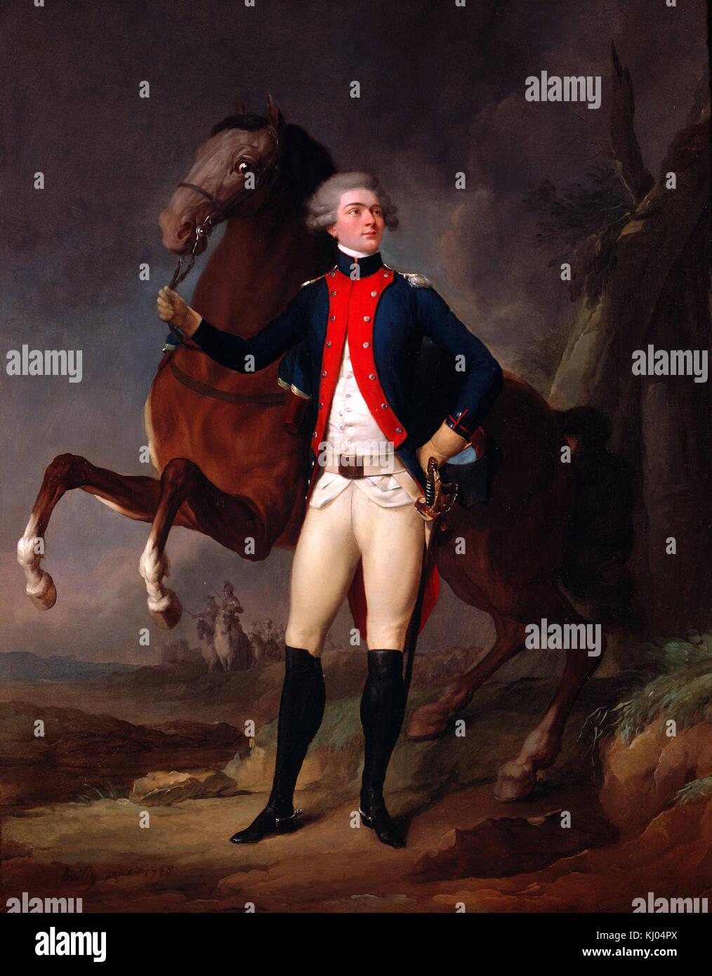 Boilly Louis Leopold -  Portrait de La Fayette (1757 - 1834) en capitaine du Regiment de Noailles - Stock Image