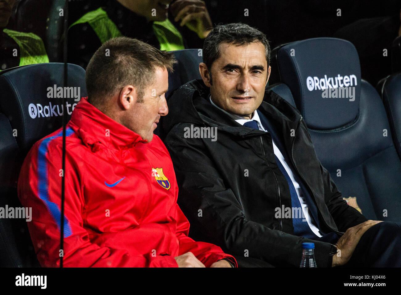 November 4, 2017 - Camp Nou, Barcelona, Spain - Ernesto Valverde, coach of FC Barcelona team before the match of - Stock Image