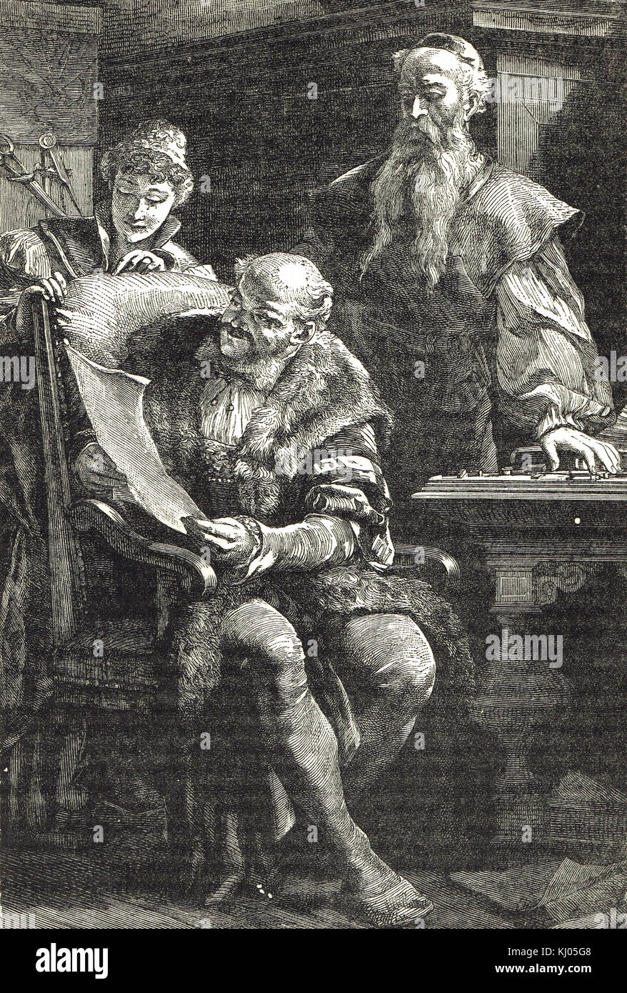 Gutenberg showing Fust (also spelt Faust) the first printed book - Stock Image