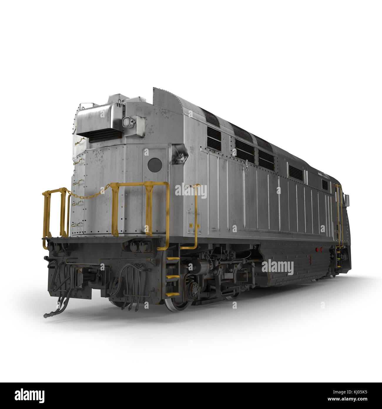Diesel Electric Locomotive isolated on white 3D Illustration - Stock Image