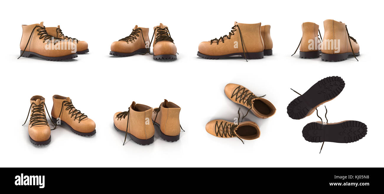 Hiking boots isolated on white 3D Illustration Stock Photo