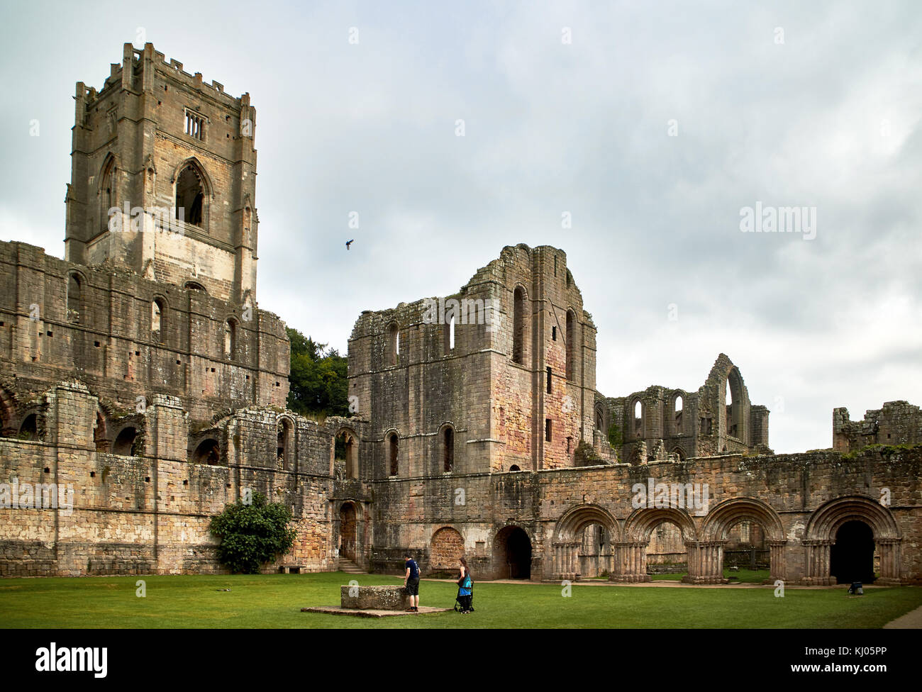 England, NorthYorkshire; the ruins of the 12th century Cistercian Abbey known as Fountains Abbey, one of the finest Stock Photo