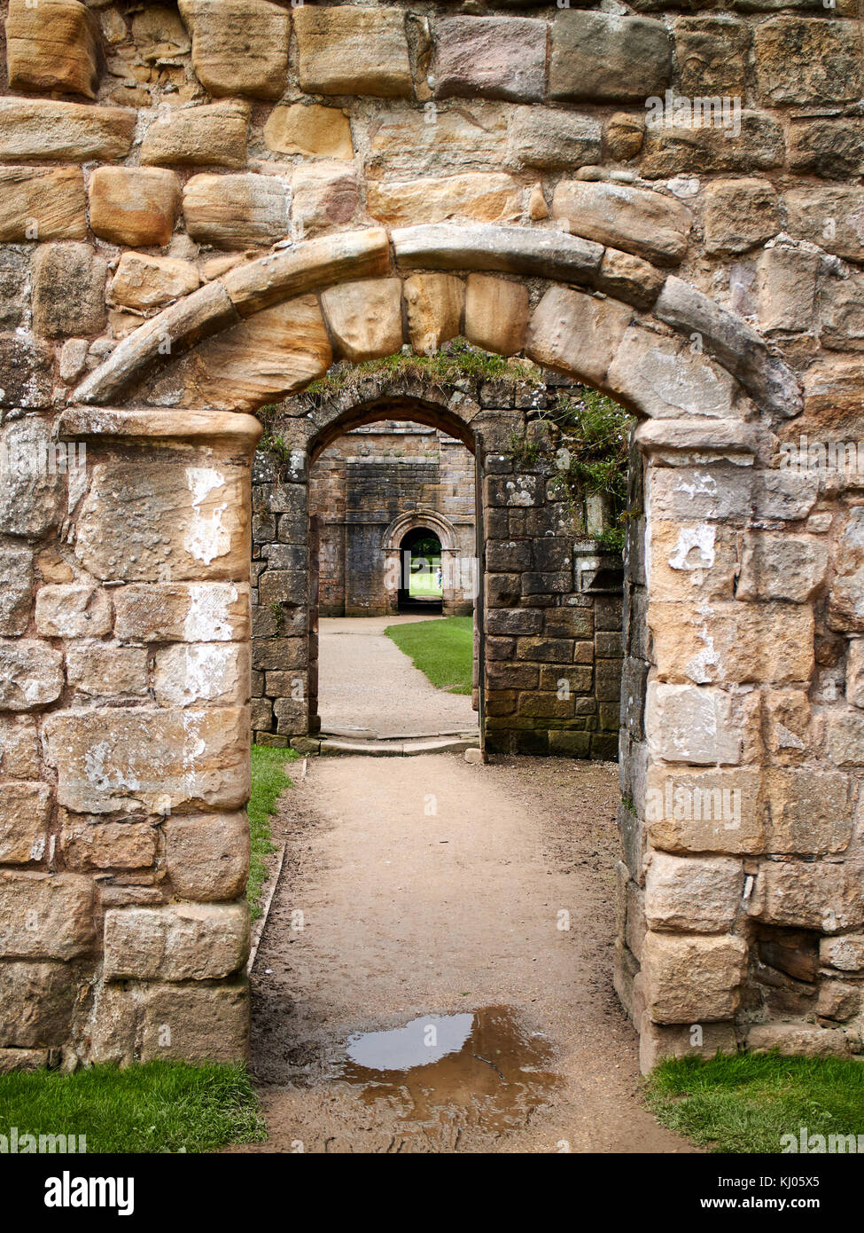 England, NorthYorkshire; Romanesque arch; Three doors; successive; North Yorkshire the ruins of the 12th century - Stock Image