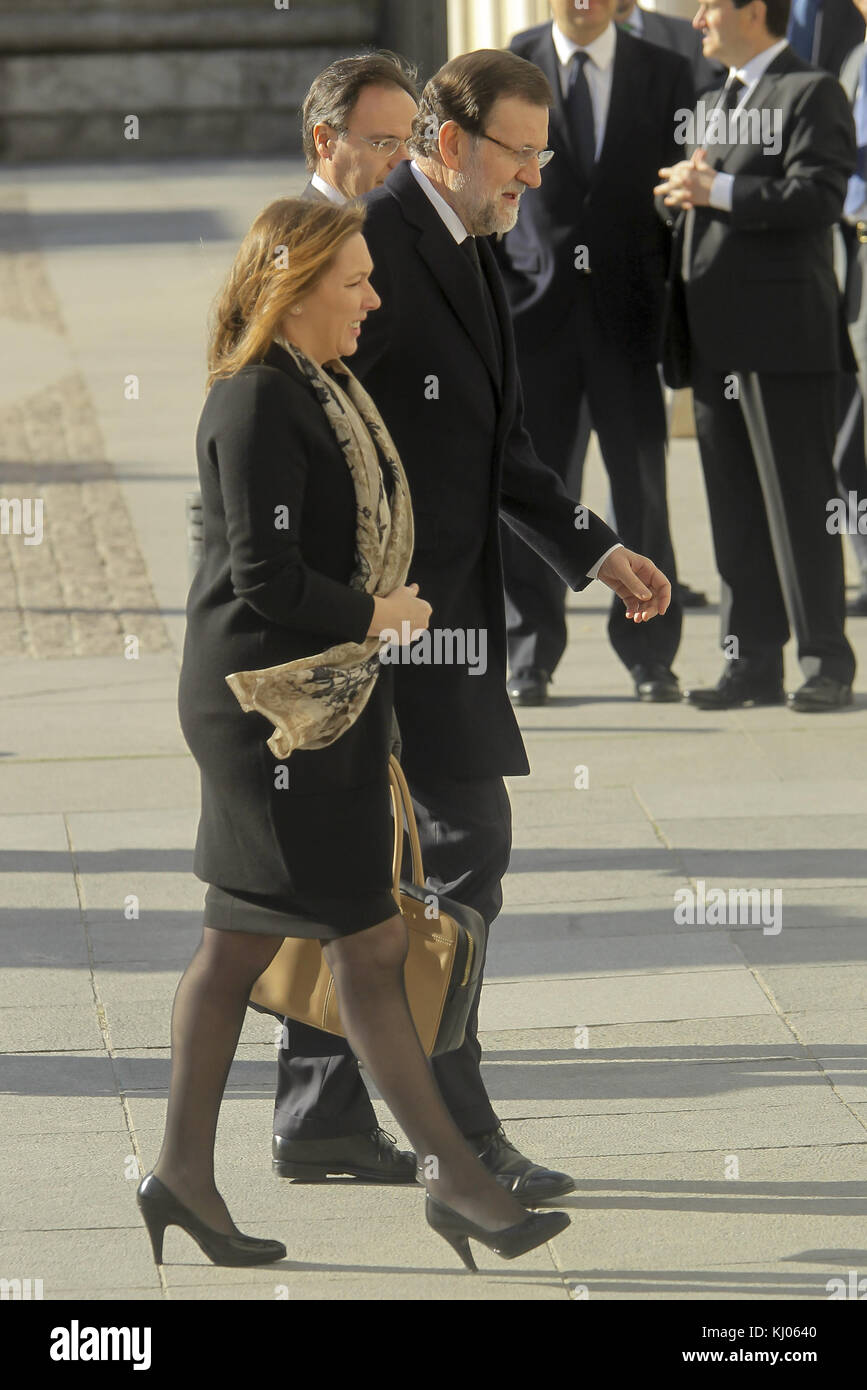 MADRID, SPAIN - MARCH 11: King Juan Carlos of Spain, Queen Sofia, Princess Letizia and Princess Elena of Spain attend - Stock Image