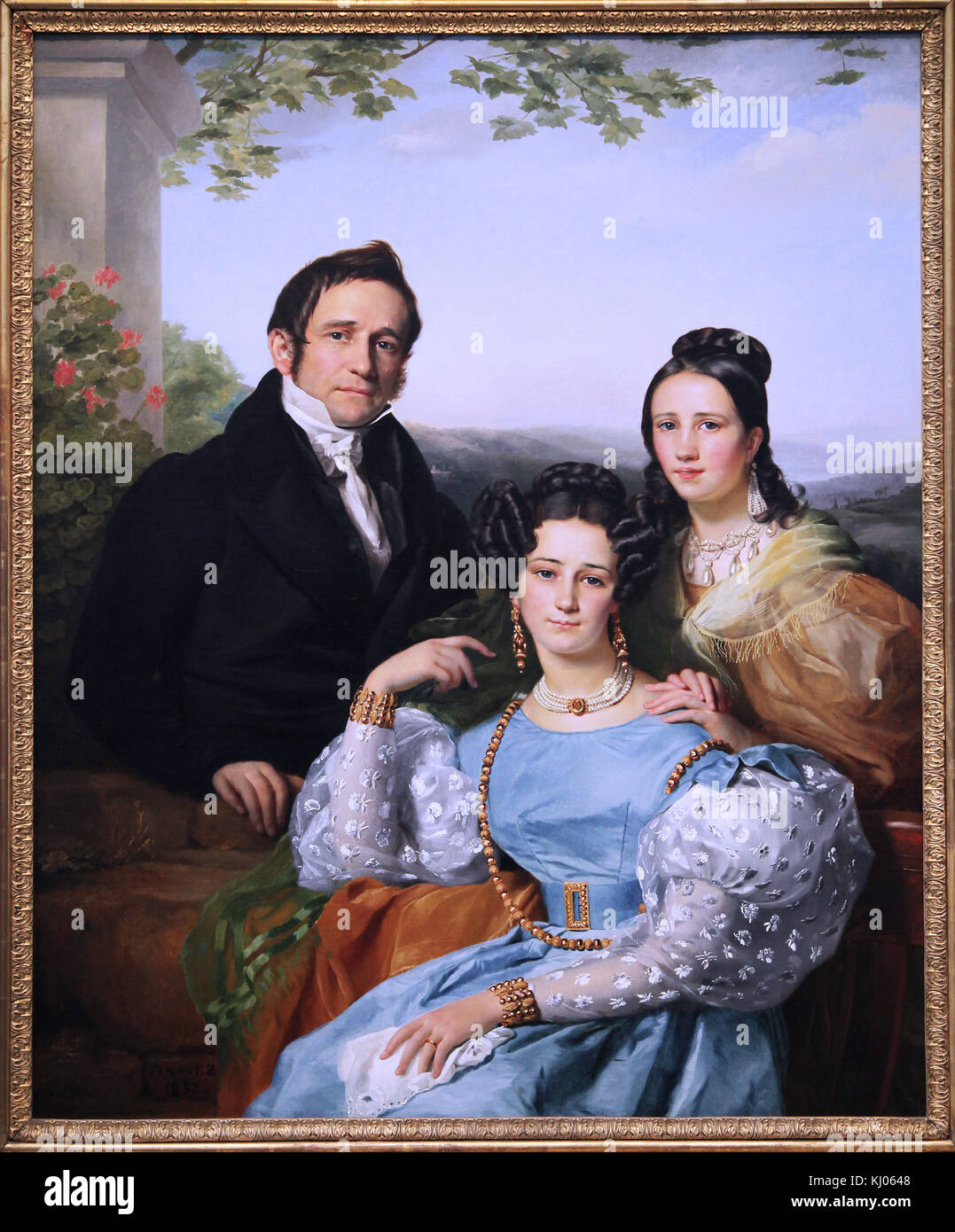 Portrait of Theodore Joseph Jonet and his two daughters 1832 by Francois Joseph Navez 1787-1869 a Belgian neo-classical Stock Photo