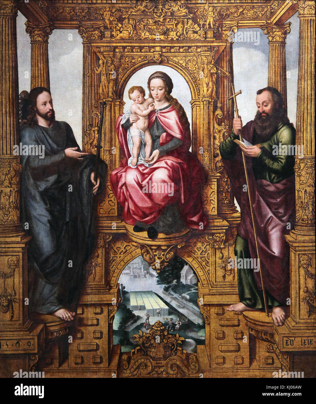 Saints Bavo ,James the Great and Willibrord 1574 by Pieter Claeissens the Younger II (c. 1535 – 1623 Bruges) Flemish - Stock Image