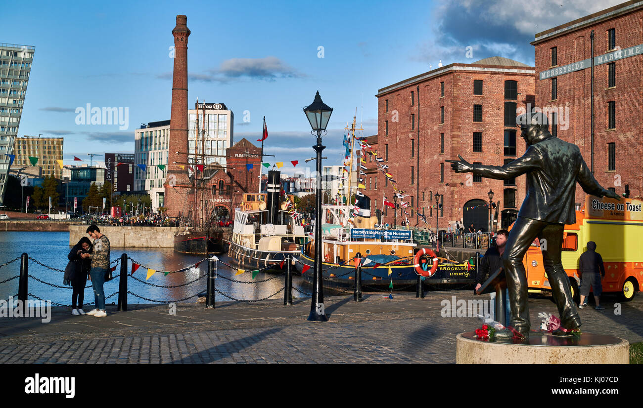 The statue of Billy Fury by Albert Dock and the Mersey River, Liverpool, Merseyside, England, United Kingdom, Europe - Stock Image
