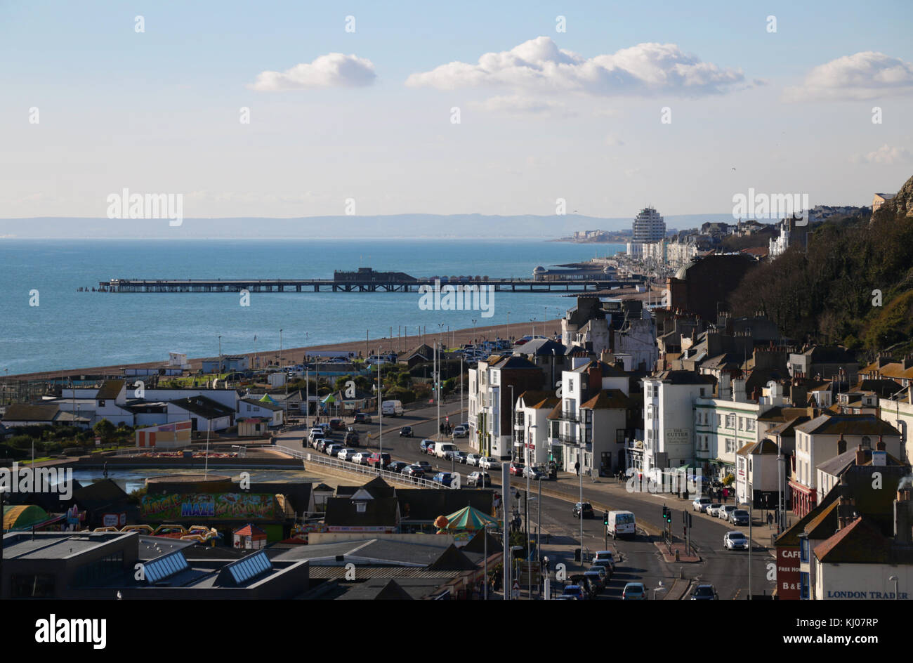 View from the East Hill in Hastings including east sussex the newly refurbished pier, the old town and the south - Stock Image