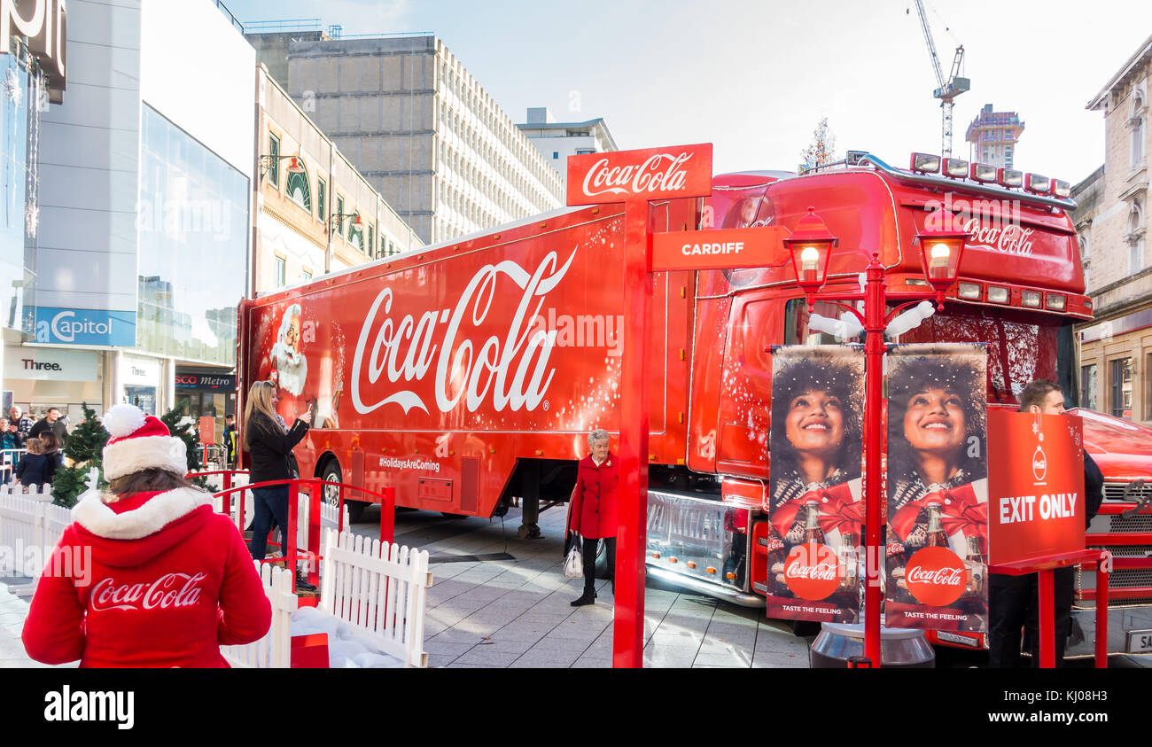 Cardiff, United Kingdom -  November 19, 2017: The Coca Cola Christmas Truck has arrived in Cardiff in November 2017. - Stock Image