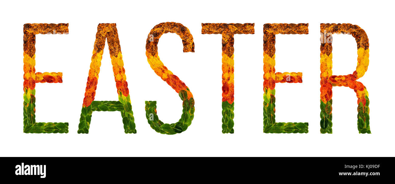 Word Easter Written With Leaves White Isolated Background Banner For Printing Creative Illustration Of Colored