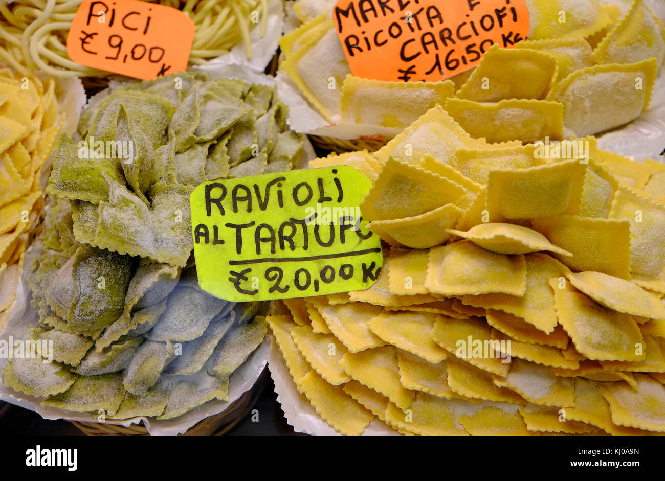 ravioli pasta on display in shop, florence, italy - Stock Image