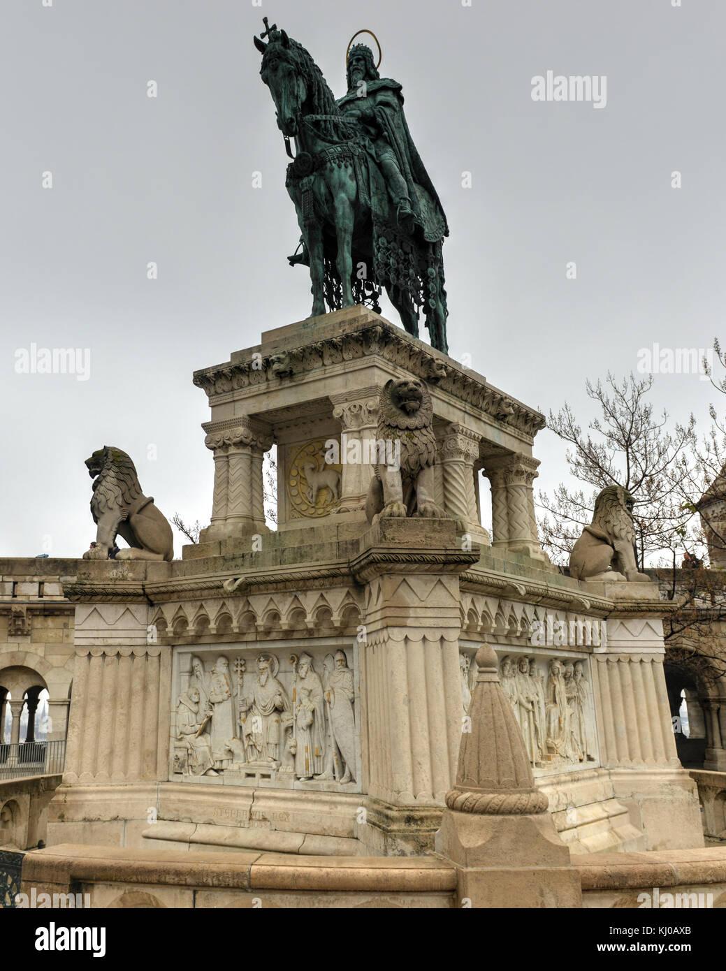 Stephen (Istvan) I Monument at Fisherman's Bastion in Budapest, Hungary - Stock Image