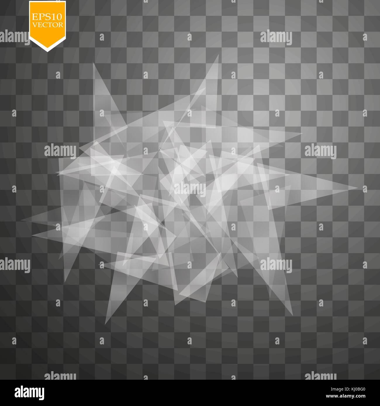Transparent broken glass on transparent background. Vector illustration - Stock Vector