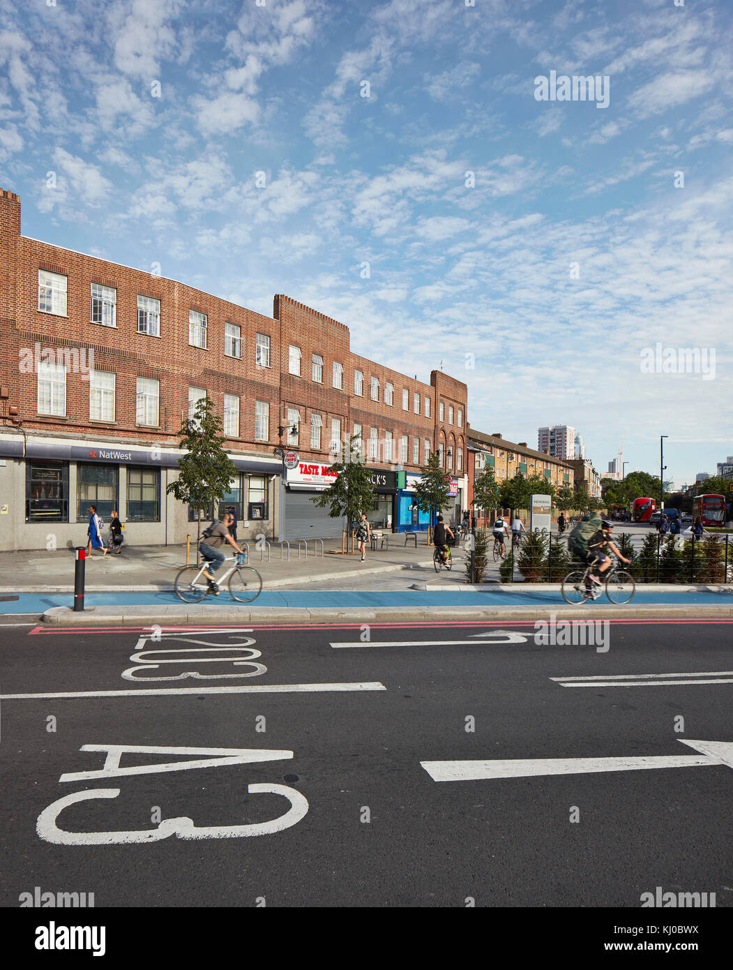 Intersection with new bicycle lane. Stockwell Framework Masterplan, London, United Kingdom. Architect: DSDHA, 2017. - Stock Image