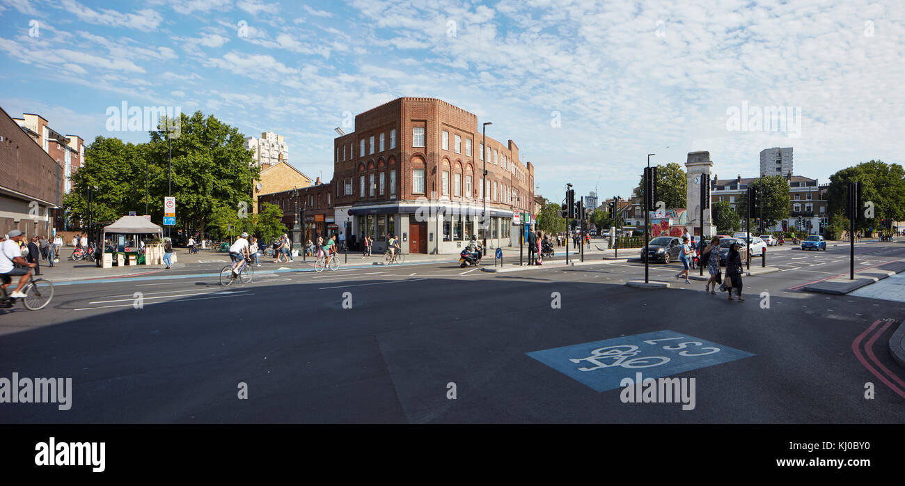 Panorama of Stockwell intersection. Stockwell Framework Masterplan, London, United Kingdom. Architect: DSDHA, 2017. - Stock Image