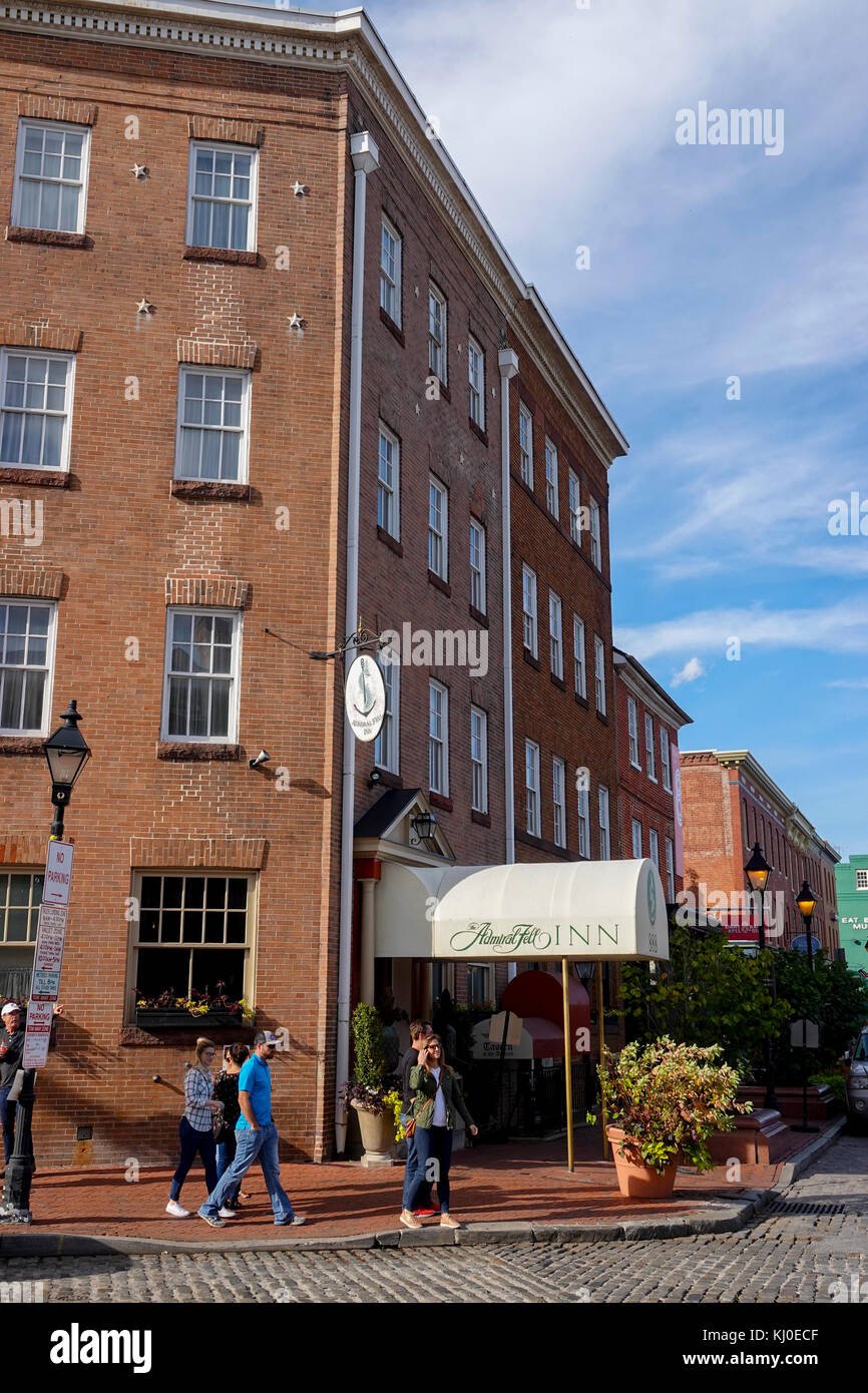 USA Maryland Baltimore Fells Point The Admiral Fell Inn old hotel - Stock Image