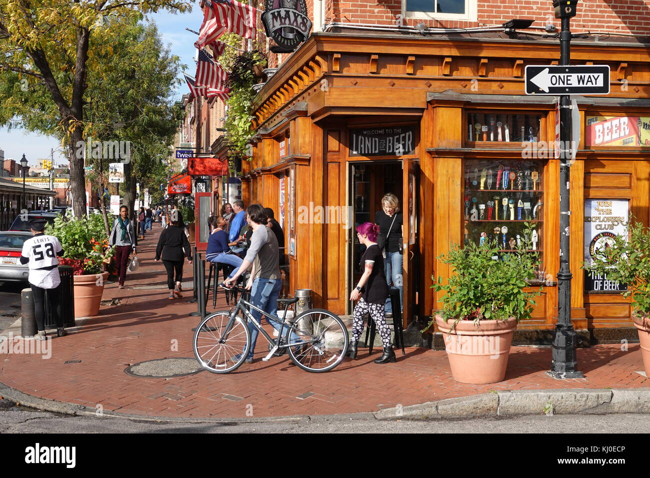 USA Maryland Baltimore Fells Point Max's Taproom Bar and Restaurant on Broadway - Stock Image