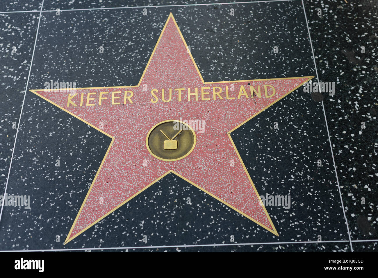 HOLLYWOOD, CA - DECEMBER 06: Kiefer Sutherland star on the Hollywood Walk of Fame in Hollywood, California on Dec. - Stock Image